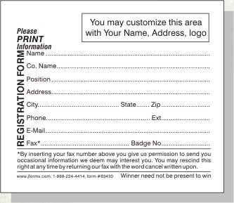 Beautiful Registration Form 83430 Four And One Quarter Inch Wide By Two And Three  Quarter Inch High  Paper Registration Form Template
